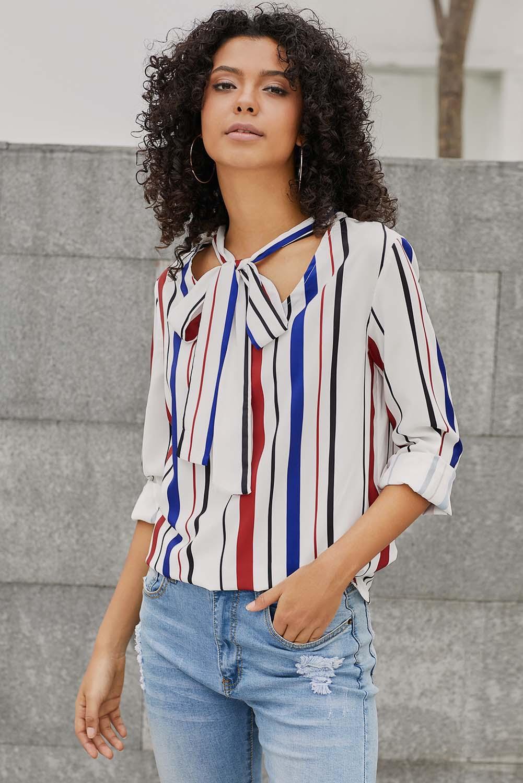 más tarde últimas tendencias de 2019 vívido y de gran estilo Detalles de Blusa top de manga larga mostaza con rayas de gatito a rayas  mujer camisa