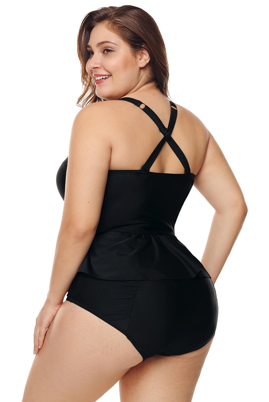 Indexbild 7 - Tankini becher schößchen kurviges bikini hoher taille damen badeanzug Übergröße