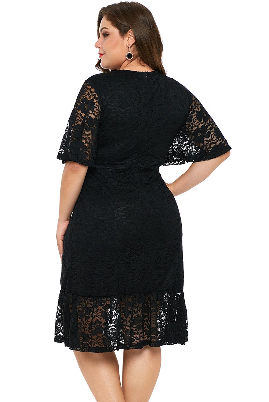 Detalles De Vestido De Noche Encaje Negro Talla Grande Mujer Fiesta Cóctel Elegante Rodilla
