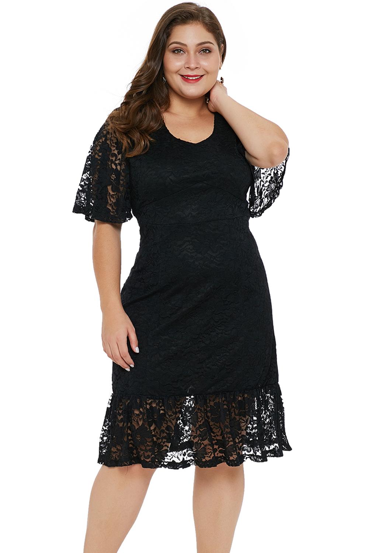 2b8d317e7c5 Vestido de noche encaje negro talla grande mujer fiesta cóctel ...