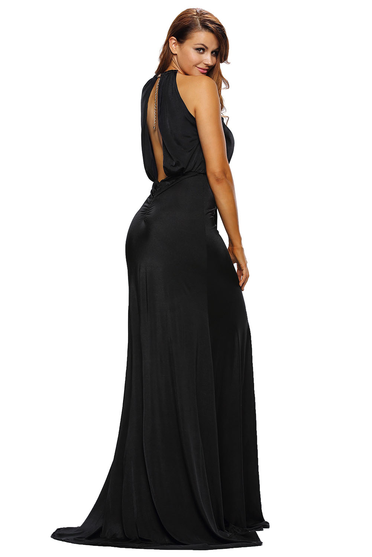 03328ac2516a Black silky jewel halter jersey evening dress backless women festive ...