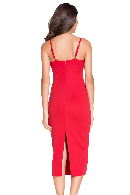 Plunging V Neck Midi Dress Backless Stage Dance Wear Club