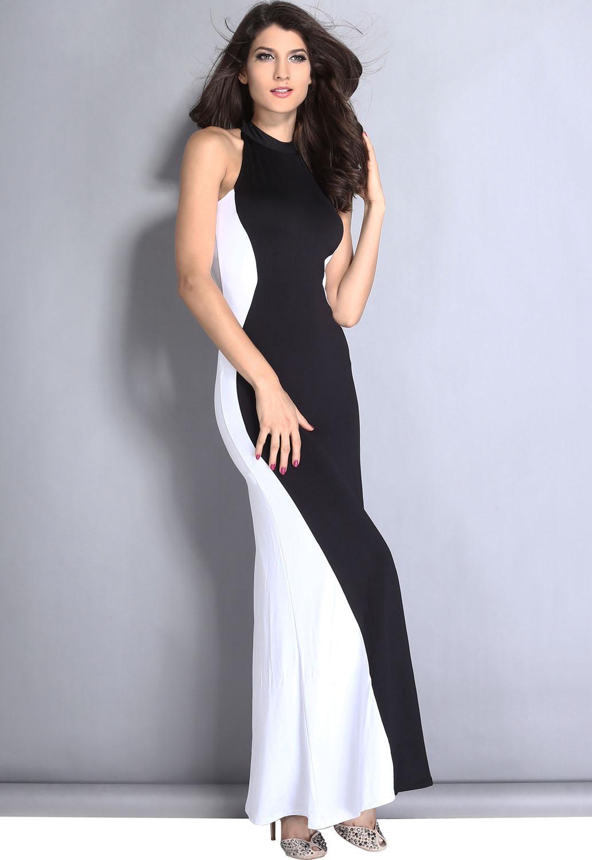 Black White Swerve Halter Maxi Evening Dress Tank Women Brief