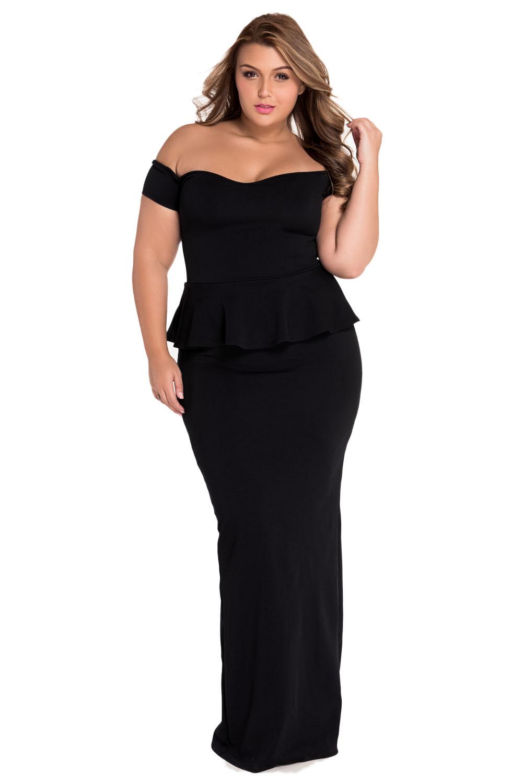 eb57f39545 Women Black Peplum Maxi Dress With Drop Shoulder Brief Club Night