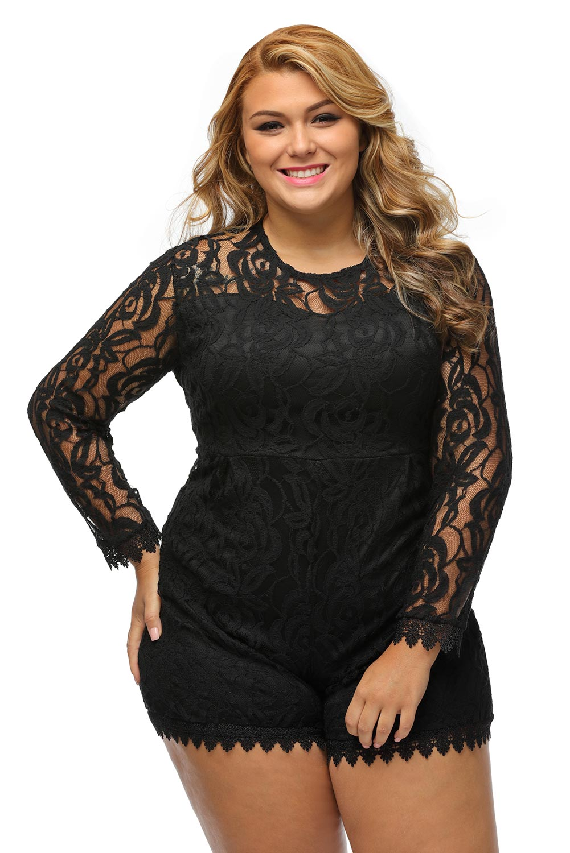 397d83bd47ad Women Black Plus Size Long Sleeve Lace Romper Dress Festive Cute ...