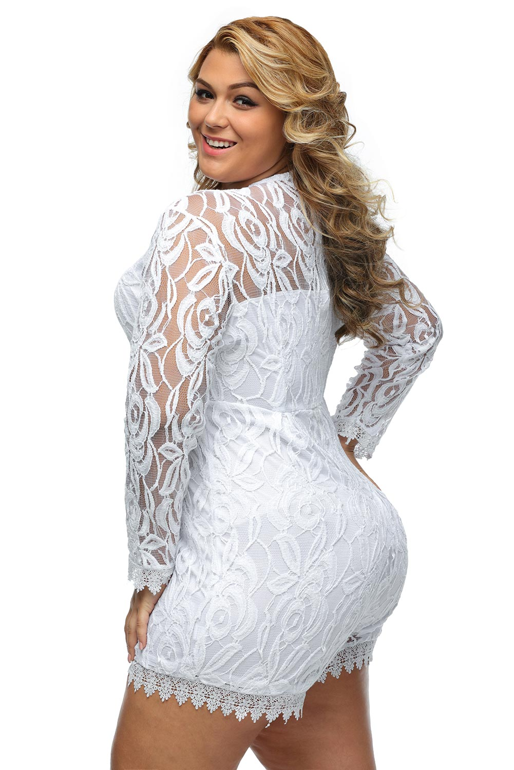 Women Black Plus Size Long Sleeve Lace Romper Dress Festive Cute