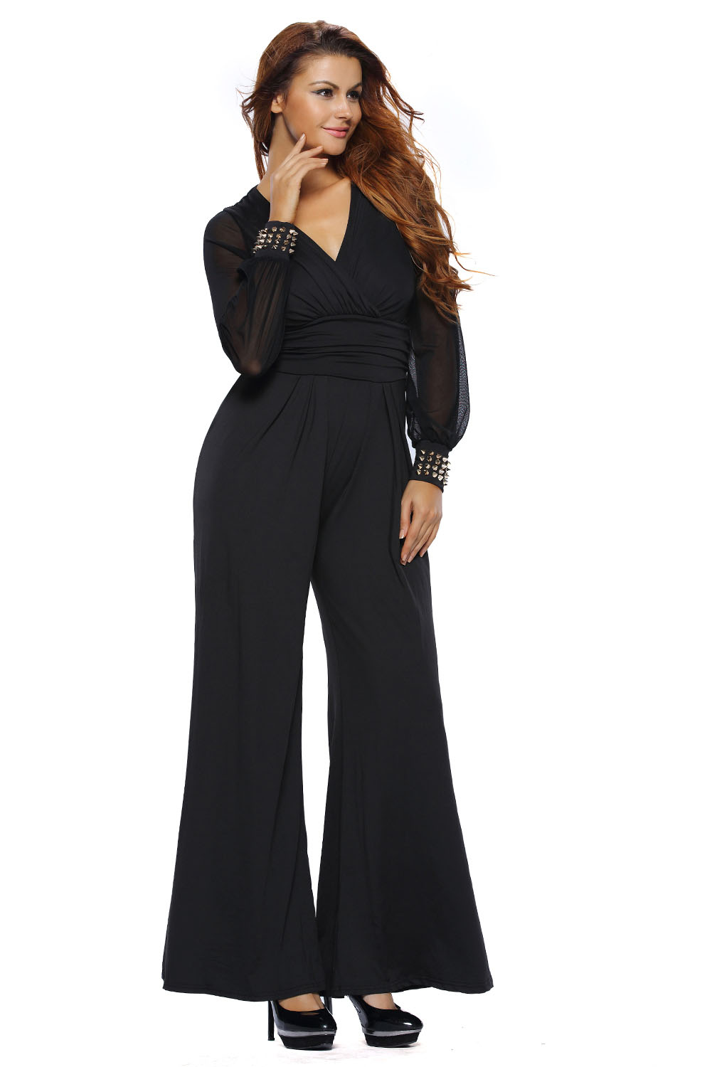 Women Embellished Cuffs Long Mesh Sleeves Jumpsuit Dress ...