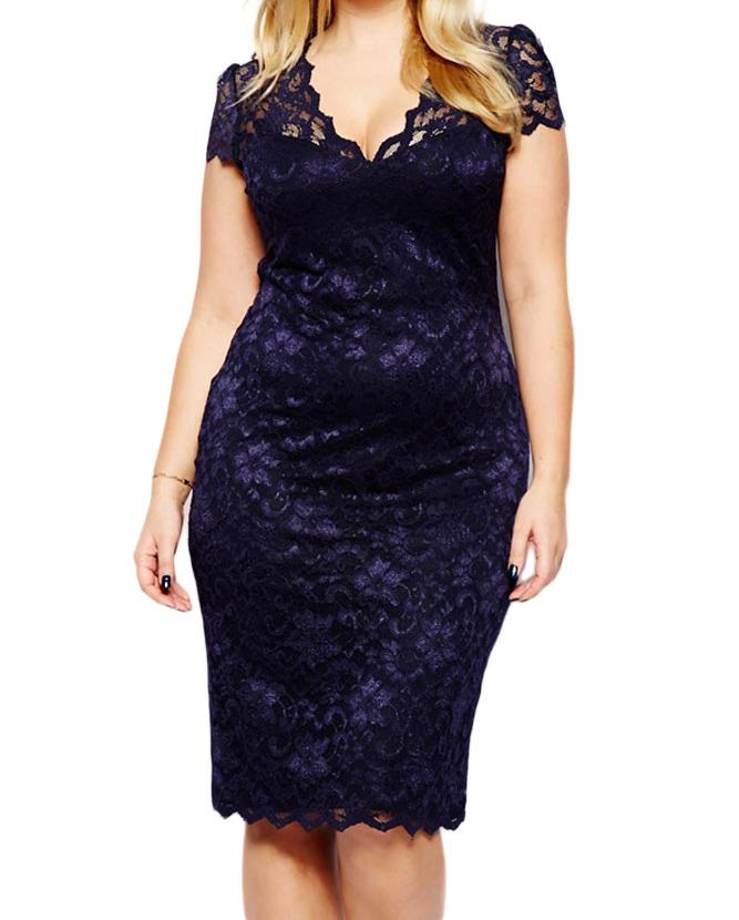 Navy Blue Scalloped V Neck Lace Plus Size Midi Dress Women Cocktail
