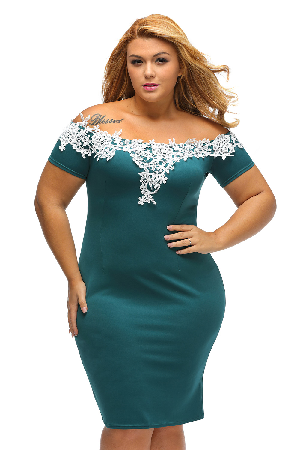 Lace crochet off shoulder plus size pencil dress women knee-length ...