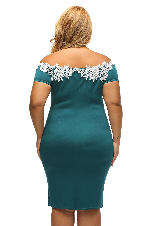 ca185eb2b044 Vestito donna elegante da sera tubino pizzo uncinetto spalle ...
