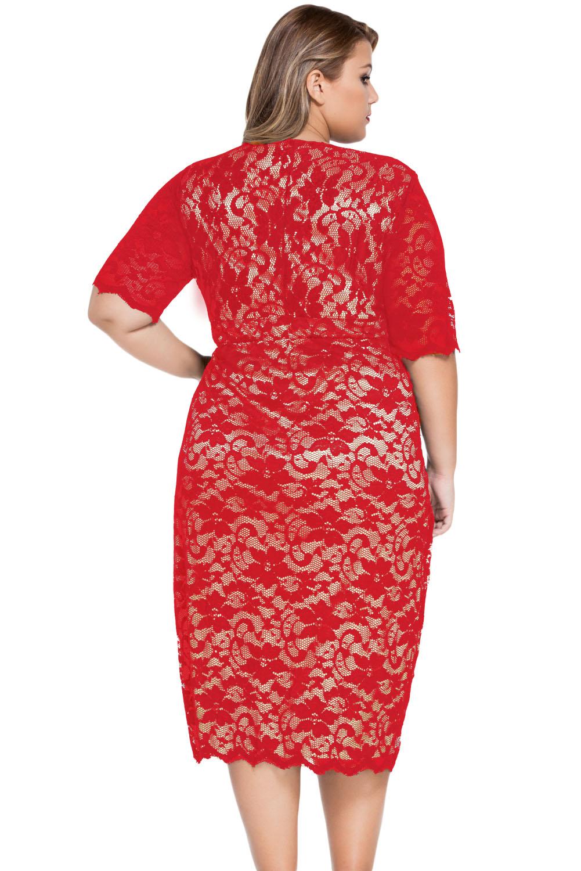 Plus size v-neck half sleeve lace midi dress stage dance wear ...