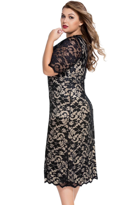 Women Plus Size Lace Midi Dress Stage Dance Wear Casual ... - photo #20
