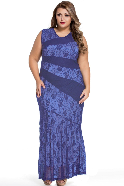 Stylish lace splice plus size mermaid prom dress stage dance wear ...