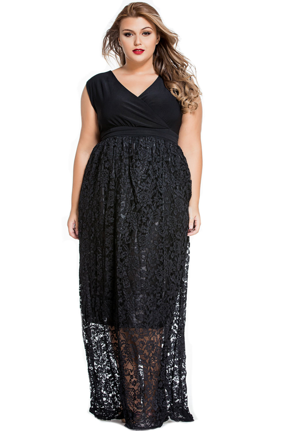 Sexy-V-Neck-Floral-Lace-Maxi-Skirt-Plus-Dress-Women-Casual-Work-Brief-Summer