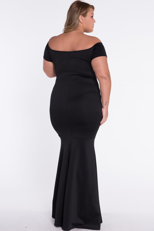 Black plus size off shoulder fishtail maxi dress backless stage ...