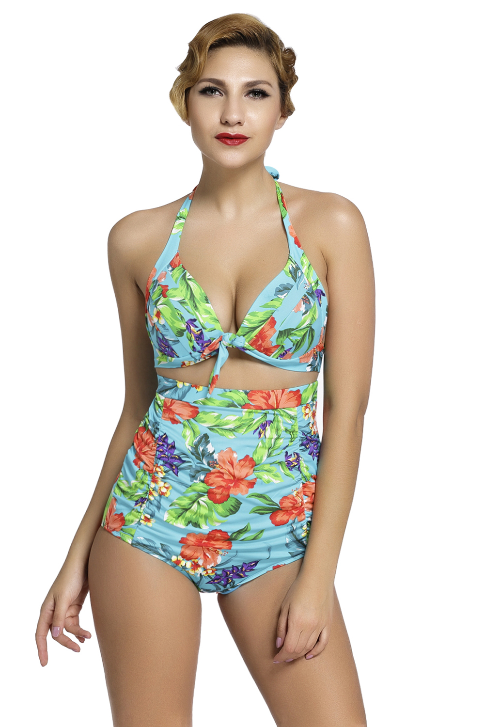 5f53f0ebbee Details about Retro High Waist 2 pieces Swimsuit Summer Cute Sexy Beach  Print Ladies Brief